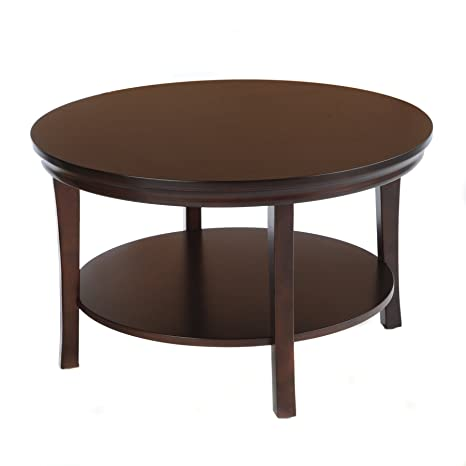 "Bay Shore Collection 30"" Round Coffee Table with Lower Shelf (Espresso) (30""H x 30""W x 18""D)"
