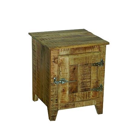 Yosemite Home Decor YFUR-SBD5138 Vintage Bedside Accent Cabinet, Natural Mango Finish