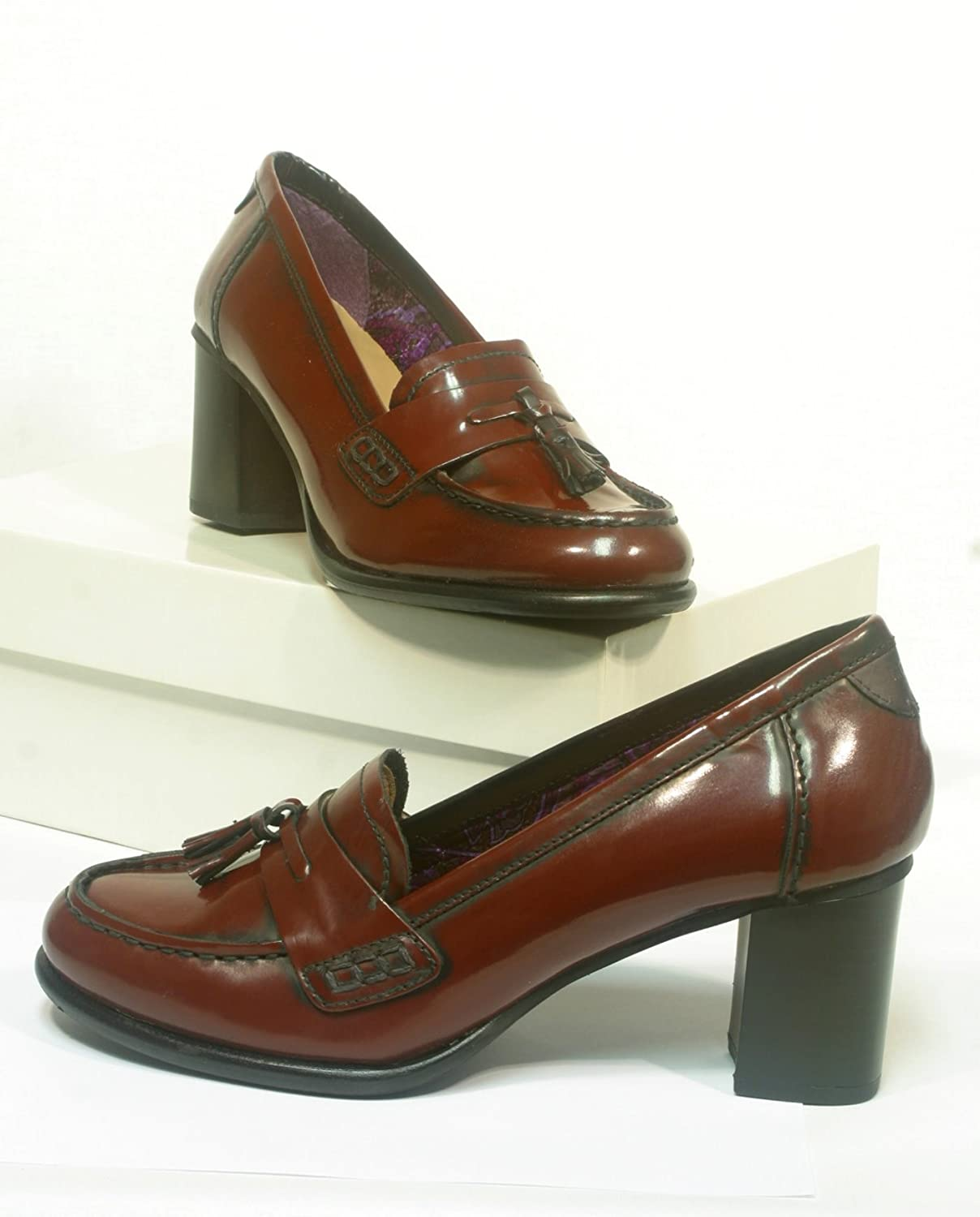 Leder College Pumps bordeaux
