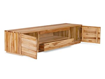 meuble tv osbon en en teck laqu naturel cuisine maison z538. Black Bedroom Furniture Sets. Home Design Ideas