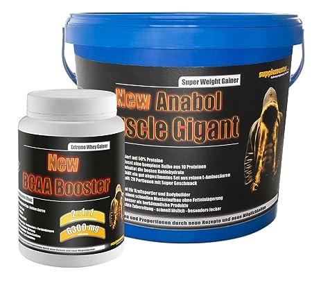 BCAA Booster 454g Multifrucht+Anabol Muscle Gigant 2,27kg Banane! Whey Gainer Wheyprotein Molkenprotein BCAA Amino Aminsäuren Muskelaufbau Anabol Anabolika