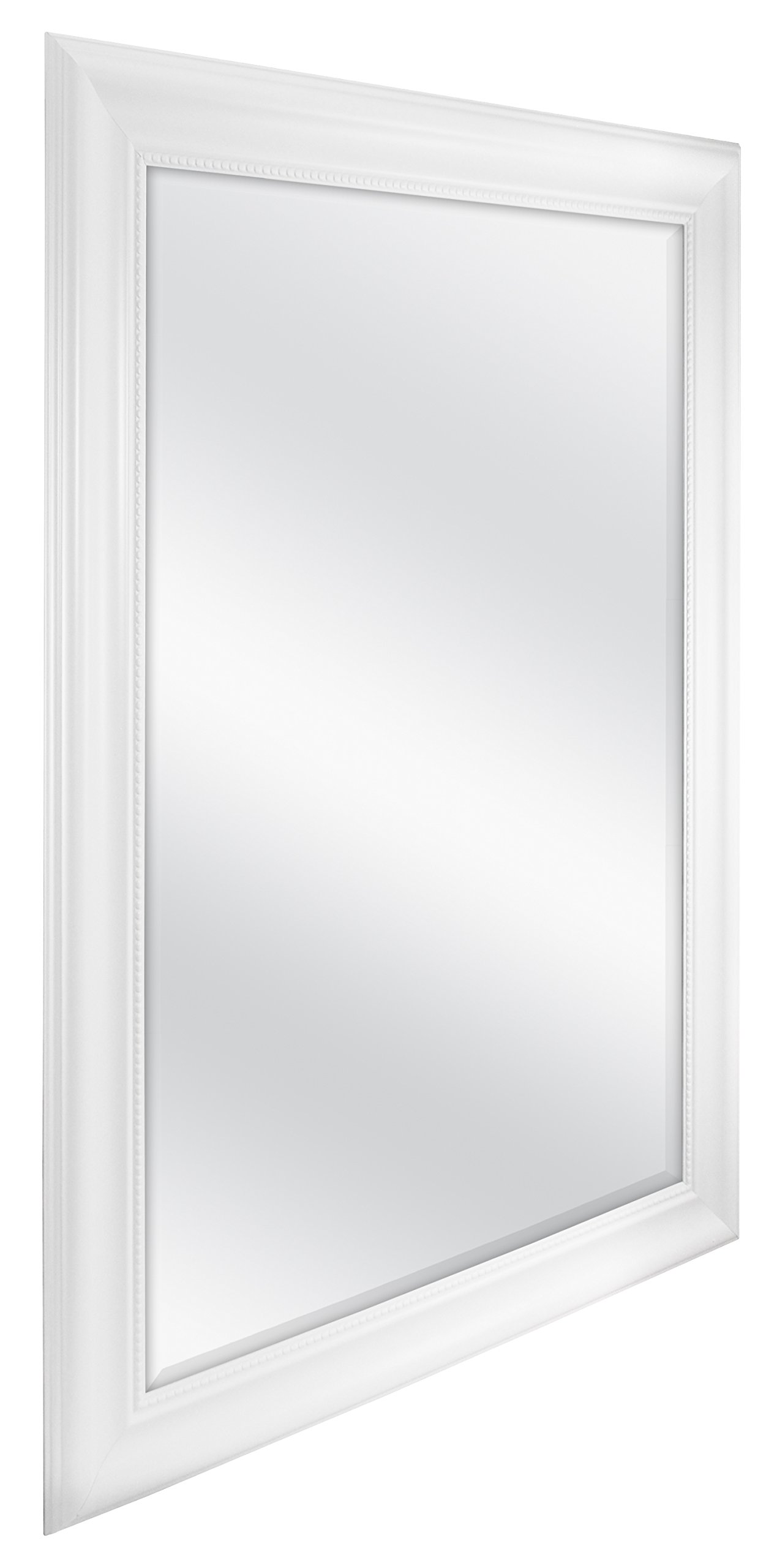 MCS White Beaded Rectangular Wall Mirror, 30-Inch By 42