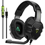 SUPSOO G811 Stereo Gaming Headset for PS4, PC, Xbox One Controller, Noise Cancelling Over Ear Headphones with Mic,Bass Surround, Soft Memory Earmuffs for Laptop Mac(Black&Green)