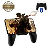 Newseego Bluetooth Mobile Game Controller, Upgraded Version Bluetooth Gaming Controller Gamepad with L1R1 Shoot and Aim Fire Trigger Keys for Rules of Survival/Knives Out for iPhone iOS (Black) (Color: Black)