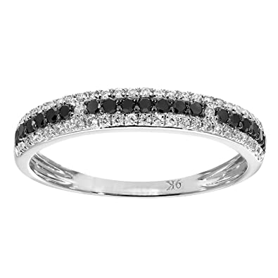 Naava 9 ct White Gold 0.33ct Black and White Diamond Eternity Ring - Size K