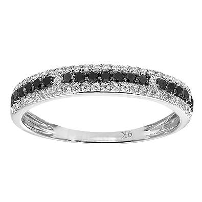Naava 9 ct White Gold 0.33ct Black and White Diamond Eternity Ring - Size K