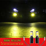 H3 LED Fog Lights Bulb Yellow Amber Gold Golden 3000K for Trucks Cars Lamps Kit Plug Error Free All in One High Power Replacement Bulbs 12V 30W 2800LM Super Bright COB Chips 1 Year Warranty?1797? (Color: Yellow, Tamaño: H3)