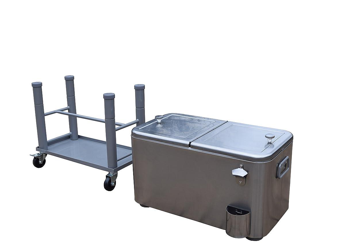 Oakland Living AZ91009-80-SS Stainless Steel 20 Gallon Cart Outdoor Cooler with Wheels, Medium