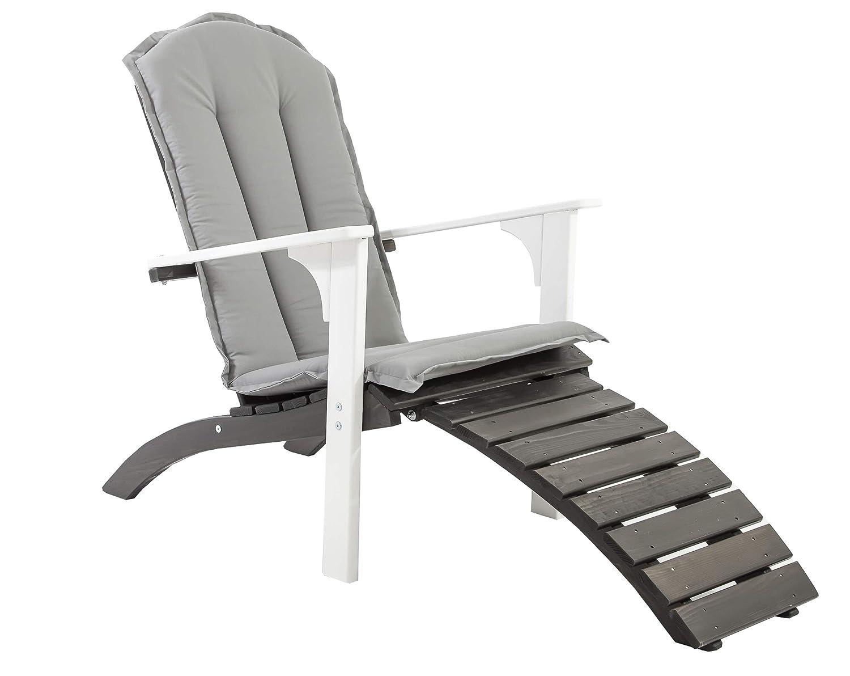 Ambientehome Adirondack Chair Deckchair Liege Gartenliege Massivholz inkl. Fussteil mit Kissen FALUN, Weiß/Taupegrau