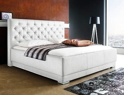 Polsterbett Solea Kunstleder weiß Boxspring-Optik Doppelbett Ehebett Bett Bettgestell, Liegefläche:160 x 200 cm