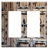 Switch Plate Double Rocker/GFCI - Door Ornament Wooden Door Input Decorated