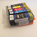 Printer-Mate TM Replacement Edible Ink 5 Pack for PGI 250XL CLI 251XL MG5420, MG5520, MG6420, MG6620, MX922, PGI-250BK, CLI-251 (5 Colors) CAKE PRINTING Italy ink FDA approved