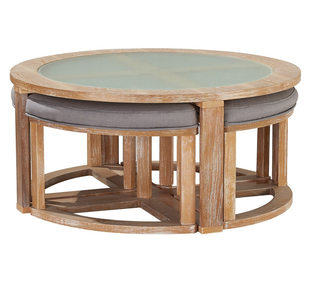 Round Coffee Table Standard Size: O&K Furniture Round Coffee Table With 4 Nesting Stools