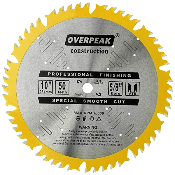 Overpeak 10 Inch Circular Saw Blade ATB Carbide Ultra Finishing Cutting Plywood 50 Tooth Table Saw Blades with 5/8-Inch Arbor (Tamaño: 10 Inch 50T)