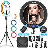 Ring Light with Remote Controller and Stand ipad Holder,Makeup LED Ring Lights 60W Bi-Color 3000K-5800K CRI=97 & TLCI =99 with 4 Color Soft Filters for YouTube, Facebook Live,Twitch and Blogging