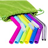 Hibery Silicone Straws 6 Pcs Reusable Straws for 30 oz Tumbler + 2 Pcs Stainless Steel Straws - Extra Long Metal Straws + 3 Brushes, Bonus 1 Storage Pouch (Color: 8 Pcs (Multicolor), Tamaño: One Size)
