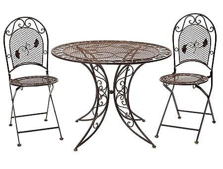 Tavolo da giardino mobili set e 2 sedie in ferro 100cm stile antico marrone