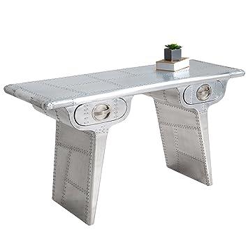 Design Schreibtisch AIR CRAFT silber 120cm Vintage Sekretär matt Konsole Konsolentisch Aluminium