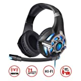 SADES PC Gaming Headset 7.1 Surround Stereo PC Pro USB, Over Ear Headset with High Sensitivity Mic Vibration