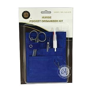 EMI Nurse Pocket Blue Organizer 4 Piece Kit - Pocket Organizer, Lister Bandage Scissor, Pupil Gauge penlight, and Chart Pen (Color: Royal)
