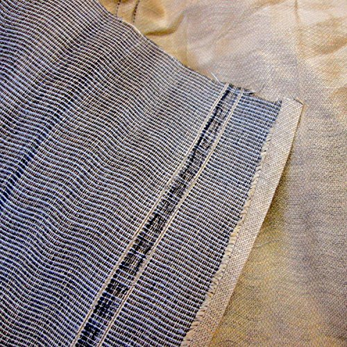 Rustic Elegant Linen Blue and Beige Double Weave Fabric 57