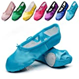 Kid Girl's Satin Practise Ballet Slipper Yoga Shoe,Blue,Toddler,10 M US (Color: Blue, Tamaño: 10 M US Toddler)