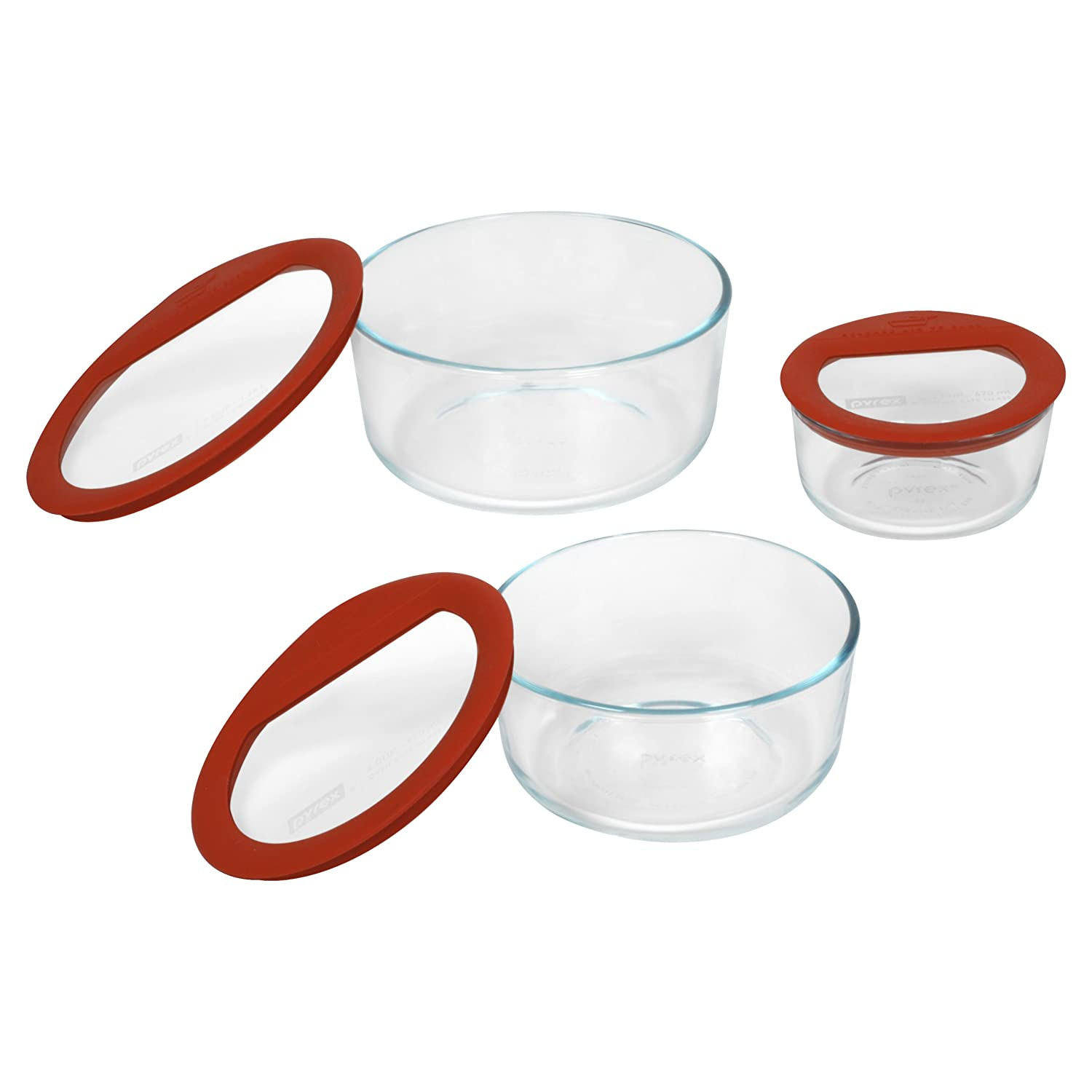 Pyrex No Leak Glass Container Set With Lid 6 Piece Round