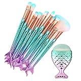 CINIDY Makeup Brushes Set 11pcs 3D Mermaid Makeup Brush Cosmetic Brushes Eyeshadow Eyeliner Blush Brushes