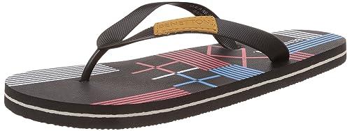 United Colors of Benetton Men's Black Flip-Flops and House Slippers - 10 UK/India (44 EU)