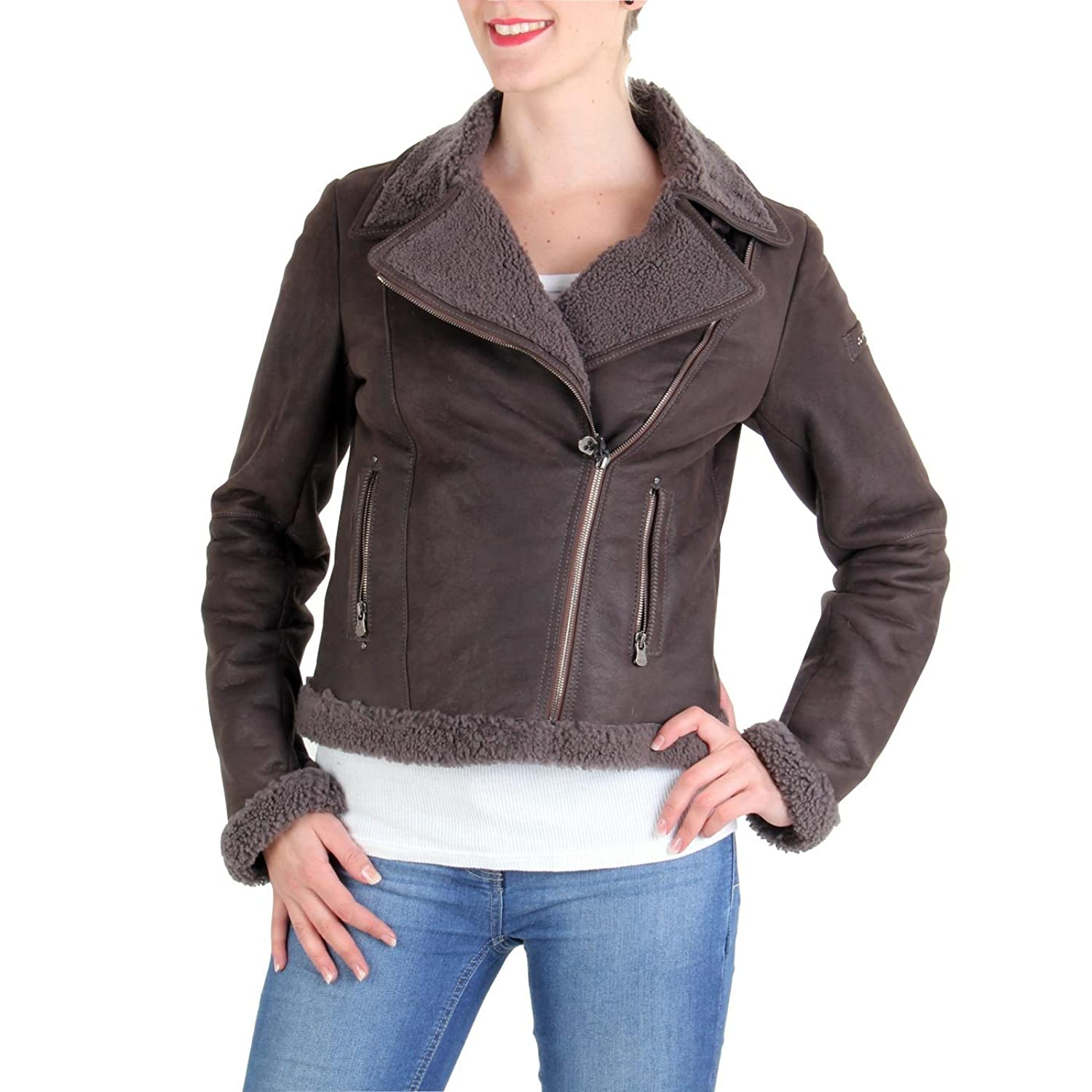 PEUTEREY Damen Winter Lederjacke Kiki Dark Brown 458 günstig kaufen