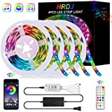 65.6FT/20M LED Strip Lights, HRDJ RGB LED Light Strip Music Sync RGB LED Strip,5050 SMD Color Changing LED Strip Lights Bluetooth Controller + 24Key Remote Control for Kitchen Home Party(4x16.4FT) (Color: Multicolor, Tamaño: 4pcs x 16.4ft)