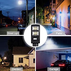 Dailyart 60W LED Street Light Solar Powered with Remote Control and Motion Sensor Waterproof Dusk to Dawn Outdoor Solar Lights for Yard, Garden, Street, Basketball Court, 6000K, IP65 (Color: Black, Tamaño: 60W)