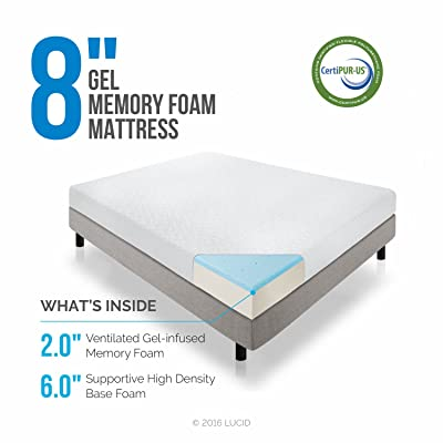 LUCID 8 Inch Memory Foam Mattress