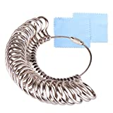 KUUQA Size 1-13 Stainless Iron Ring Sizer Finger Ring Sizing Measuring Tool Ring Sizer Gauge Set 27 Pieces Circle Models with 2 Piece Jewelry Polishing Cloth (Color: Stainless)