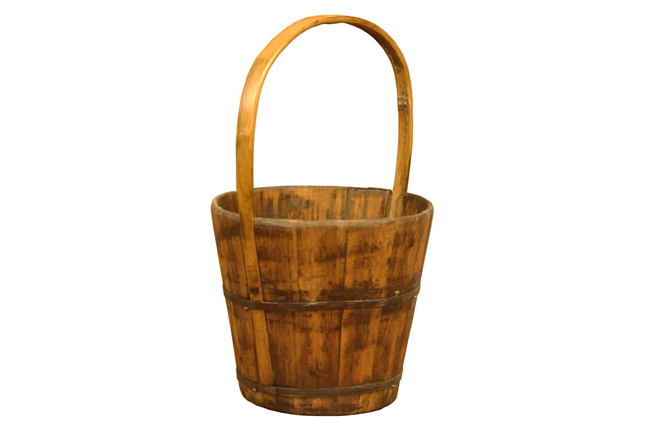 Antique Revival Wooden Water Bucket, Natural Pine 0
