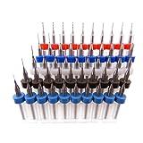 50pc Tungsten Carbide Micro Drill Bits Set Drill Press Dremel Pin-Vise 10 each .2mm .3mm .4mm .5mm .6mm 1/8