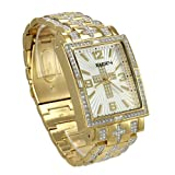 Elgin FG9051 Men's Oversized Glitz Cross Watch, Brass & Goldtone Metal
