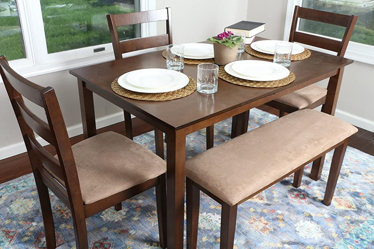 4 Person 5 Piece Kitchen Dining Table Set 1 Table 3 Microfiber Chairs 1 Bench Walnut