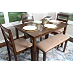 4 Person - 5 Piece Kitchen Dining Table Set - 1 Table, 3 Microfiber Chairs & 1 Bench Walnut J150232Walnut