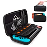 IHK Carrying Case Compatible with Nintendo Switch, 10 Game Card Inserts, Hard Shell Pouch Protective Hard Portable Travel and Storage Carry for Nintendo Switch Case Game Console & Accessories Black (Color: Black)