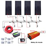 ECO-WORTHY 600W 12V Off Grid Solar Power System: 4pcs 150W Poly Solar Panel+45A Charge Controller+1000W Pure Sine Wave Inverter+MC4 Solar Cable+MC4 Branch Connector Pair+ Mounting Brackets