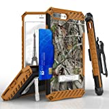 Apple iPhone 8 Plus / 7 Plus - Accessory Bundle: [Real Tree Camo] Tri-Shield Holster Case, Cellet [Apple MFI Certified] 2.1A / 10W Retractable Lightning Car Charger and Atom LED