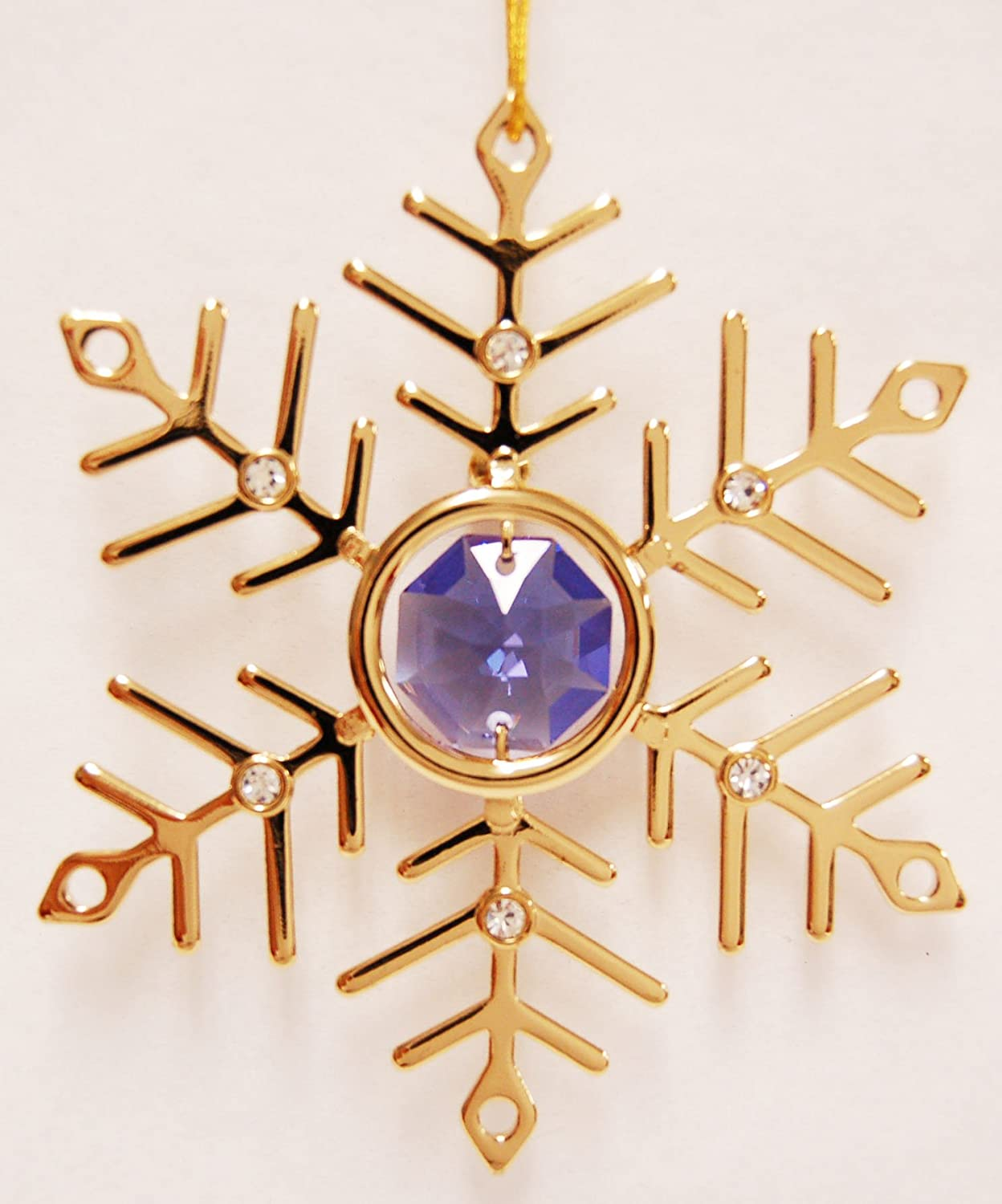 Gold Snowflake with Purple Swarovski