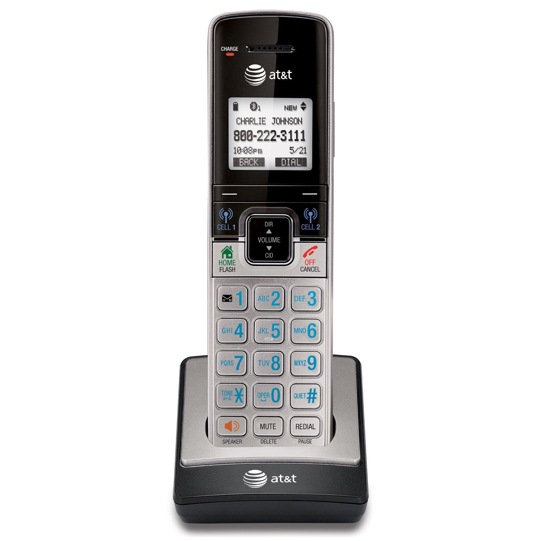 Telefonos-fijos AT&T, AT y T TL96273 DECT 6.0 teléfono inalámbrico ampliable con Bluetooth conectar celulares, contestador y altavoz de Base, 2 auriculares, plata/negro en Veo y Compro