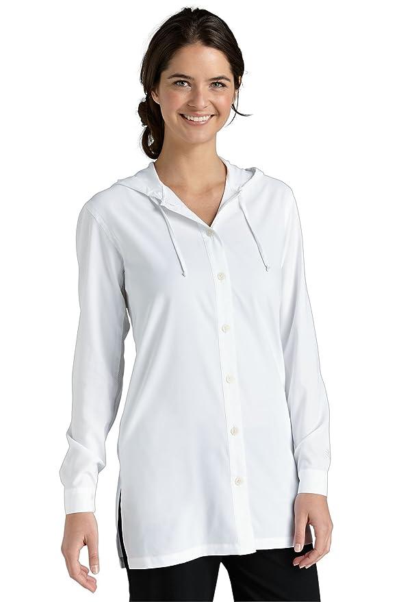 Coolibar UPF 50+ Women's Beach Shirt - Sun Protection (X-Small - Mainsail White)