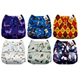 Mama Koala One Size Baby Washable Reusable Pocket Cloth Diapers, 6 Pack with 6 One Size Microfiber Inserts (Magic School) (Color: Magic School, Tamaño: One Size)