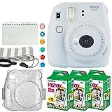 Fujifilm Instax Mini 9 Instant Camera (Smokey White) + Fujifilm Instax Mini Twin Pack Instant Film (60 Exposures) + Glitter Case + Scrapbook Album + 6 Colored Lens Filters + Neck Strap – Full Bundle (Color: Smokey White)