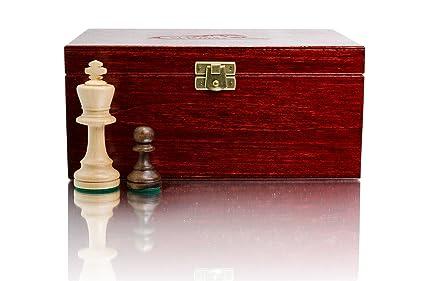 STAUNTON No.5 Boxed par Maître d'échecs, professionnels en bois Figures d'échecs pondérées dans Élégant Box