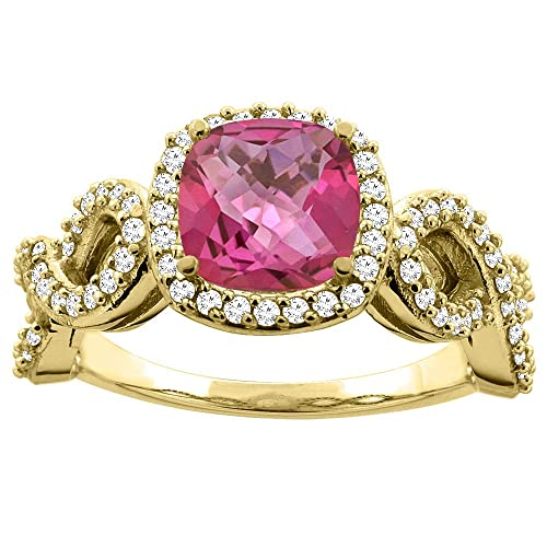 14ct Gold Natural Pink Topaz Engagement Ring Cushion 7mm Eternity Diamond Accents, sizes J - T