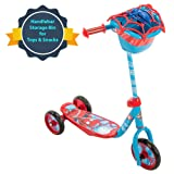 Huffy Bicycle Company Marvel Spider-Man Secret Storage 3 Wheel Scooter, Soft Blue, 37